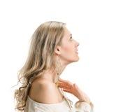 Mulher bonita no perfil fotografia de stock royalty free