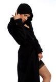 Mulher bonita no preto Imagens de Stock