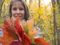 A mulher bonita no revestimento no parque recolhe as folhas de bordo Mulher que coleta as folhas de outono fotografia de stock royalty free