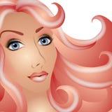 Mulher bonita no tema cor-de-rosa ilustração stock