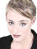 Mulher bonita no terno de negócio preto Imagens de Stock Royalty Free