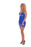 Mulher bonita no vestido azul Foto de Stock