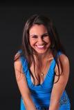 Mulher bonita no vestido azul Imagem de Stock Royalty Free