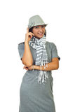 Mulher bonita no vestido cinzento Imagem de Stock Royalty Free