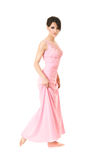Mulher bonita no vestido cor-de-rosa fotos de stock