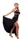 Mulher bonita no vestido preto Foto de Stock