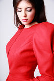 Mulher bonita no vestido vermelho Fotos de Stock