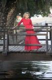 Mulher bonita no vestido vermelho, ponte de madeira fotos de stock