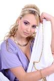 Mulher bonita nova com cabelo curly longo imagens de stock