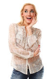 Mulher bonita nova com cabelo louro que sorri sobre o backgro branco Foto de Stock Royalty Free