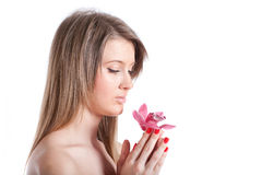 Mulher bonita nova com orquídea foto de stock