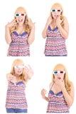 Mulher bonita nova com os vidros 3d ajustados Imagens de Stock Royalty Free