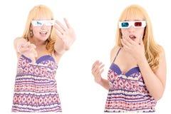 Mulher bonita nova com os vidros 3d ajustados Fotos de Stock Royalty Free