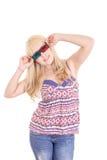 Mulher bonita nova com vidros 3d, Imagens de Stock
