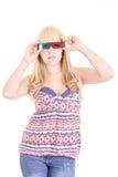 Mulher bonita nova com vidros 3d, Imagens de Stock Royalty Free