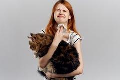 A mulher bonita nova em um fundo claro guarda um gato, uma alergia aos animais de estimação Fotografia de Stock