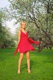 Mulher bonita nova em um vestido vermelho fotografia de stock royalty free