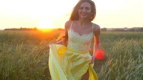 Mulher bonita nova feliz no vestido amarelo que corre no campo de trigo no verão do por do sol, conceito da felicidade da saúde d video estoque