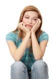 Mulher bonita nova na depressão Fotografia de Stock