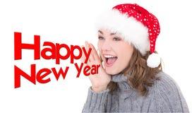 Mulher bonita nova na gritaria do chapéu de Santa Fotos de Stock