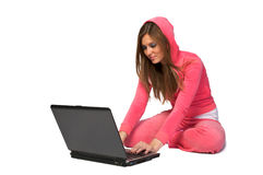 Mulher bonita nova no sportswear cor-de-rosa fotos de stock royalty free