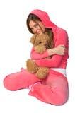 Mulher bonita nova no sportswear cor-de-rosa imagem de stock