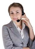 Mulher bonita nova no telefone. Fotografia de Stock