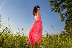 Mulher bonita nova nos campos imagem de stock royalty free