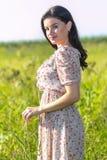 Mulher bonita nova nos campos imagens de stock
