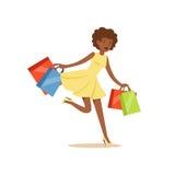 Mulher bonita preta nova que corre com muita ilustração colorida do vetor do caráter dos sacos de compras Fotografia de Stock