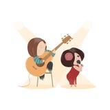 Mulher bonita que canta com um microfone e ilustração royalty free