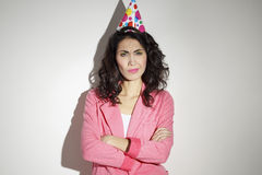 Mulher bonita que comemora seu aniversário Imagem de Stock Royalty Free