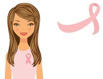 Mulher bonita que desgasta a fita cor-de-rosa ilustração do vetor