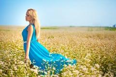Mulher bonita que desgasta o vestido azul em um campo Imagens de Stock Royalty Free