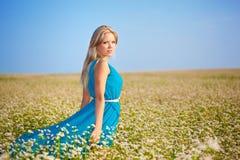 Mulher bonita que desgasta o vestido azul em um campo Fotos de Stock