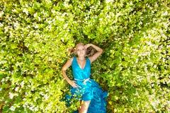 Mulher bonita que desgasta o vestido azul em um campo fotografia de stock