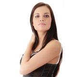 Mulher bonita que desgasta a roupa interior preta Imagem de Stock Royalty Free