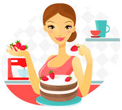 Mulher bonita que faz o bolo com morango Vetor Imagem de Stock Royalty Free