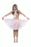 Mulher bonita que finge ser uma boneca de Barbie Imagem de Stock Royalty Free
