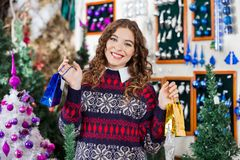 Mulher bonita que guarda sacos de compras pequenos dentro Imagens de Stock