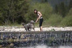 Mulher bonita que joga com o cão na água Imagens de Stock