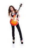 Mulher bonita que joga na guitarra isolada foto de stock royalty free