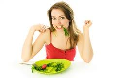Mulher bonita que mantem uma dieta Foto de Stock