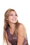 Mulher bonita que olha acima, isolado Imagens de Stock