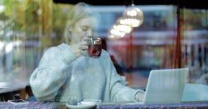 Mulher bonita que usa o portátil atrás da janela video estoque