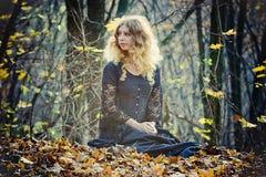 A mulher bonita senta-se na madeira feericamente foto de stock royalty free
