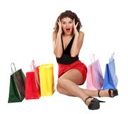 Mulher bonita shopaholic emocional Foto de Stock