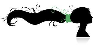Mulher bonita, silhueta principal para seu projeto Imagem de Stock