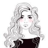 Mulher bonito com vetor longo do cabelo cartoon Arte isolada no branco ilustração royalty free