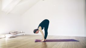 Mulher branca bonita que faz a ioga dentro vídeos de arquivo